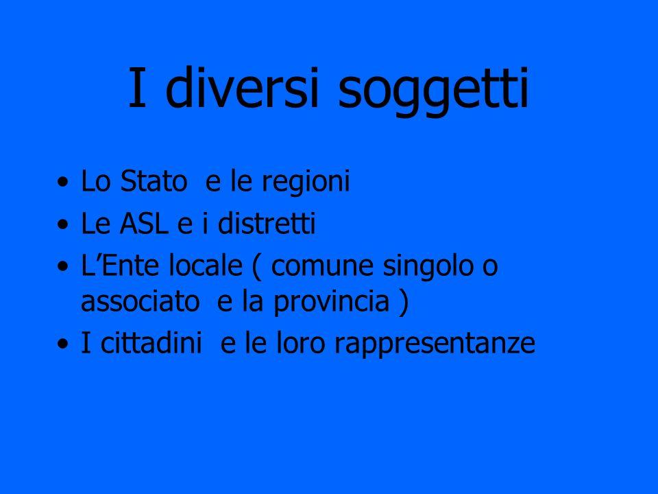 I diversi soggetti Lo Stato e le regioni Le ASL e i distretti