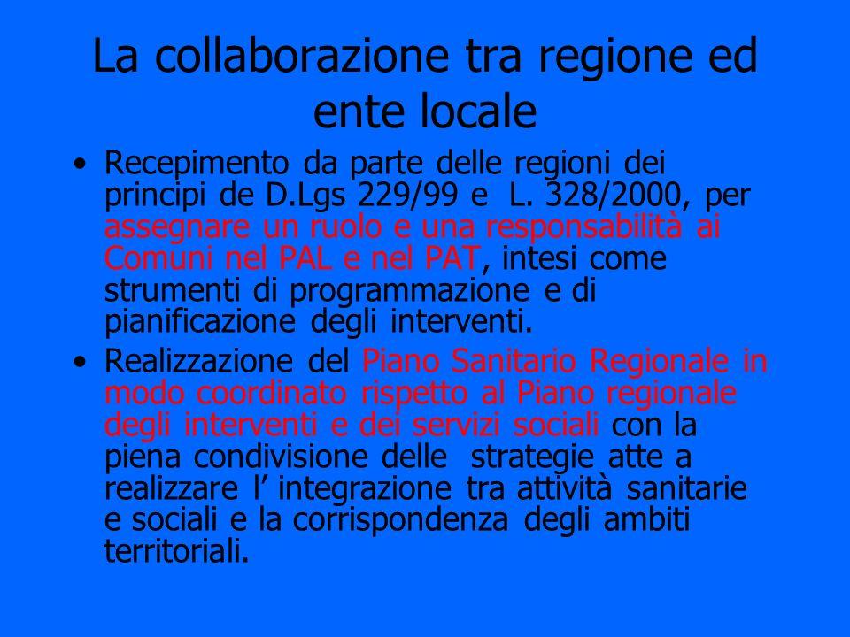 La collaborazione tra regione ed ente locale