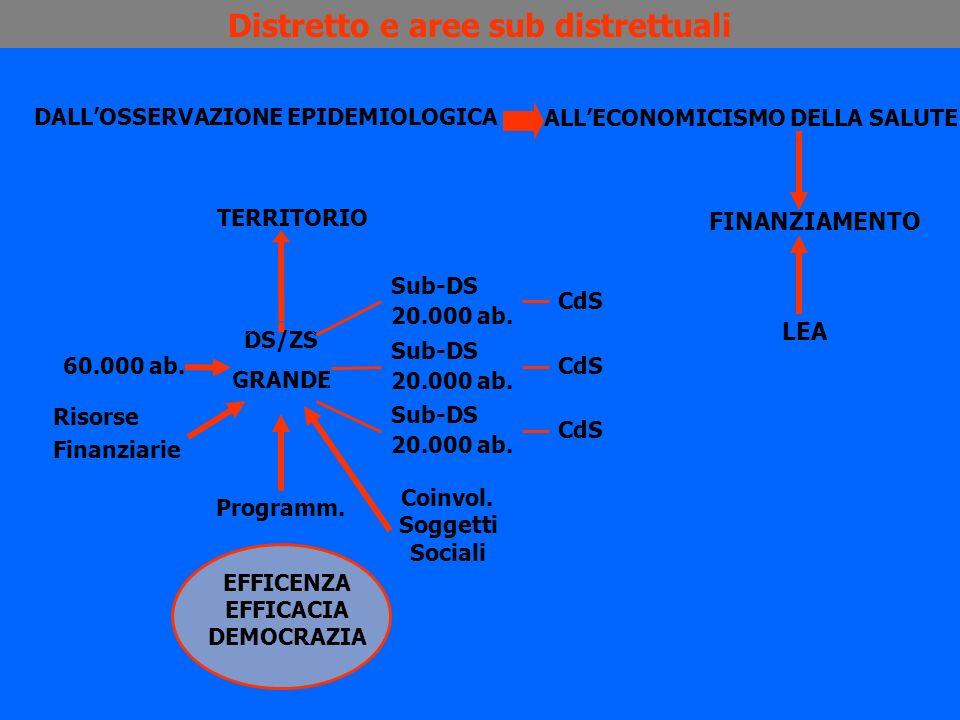 Distretto e aree sub distrettuali