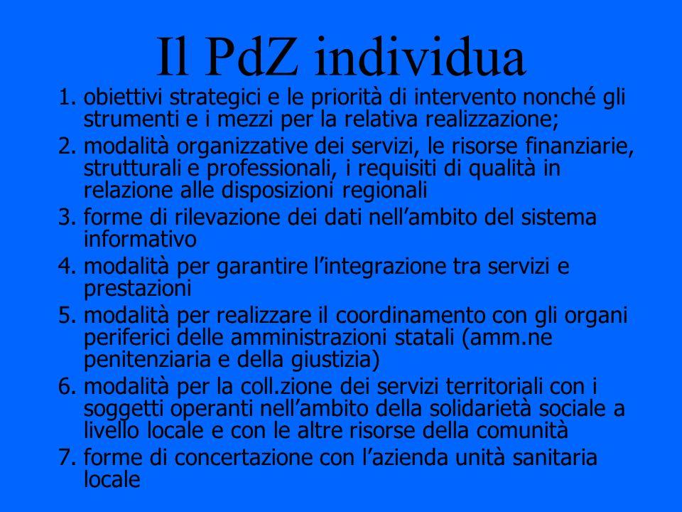 Il PdZ individua obiettivi strategici e le priorità di intervento nonché gli strumenti e i mezzi per la relativa realizzazione;
