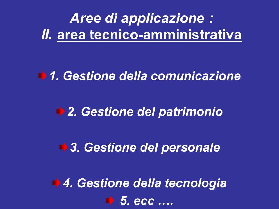 Aree di applicazione : II. area tecnico-amministrativa