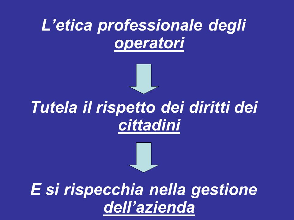 L'etica professionale degli operatori