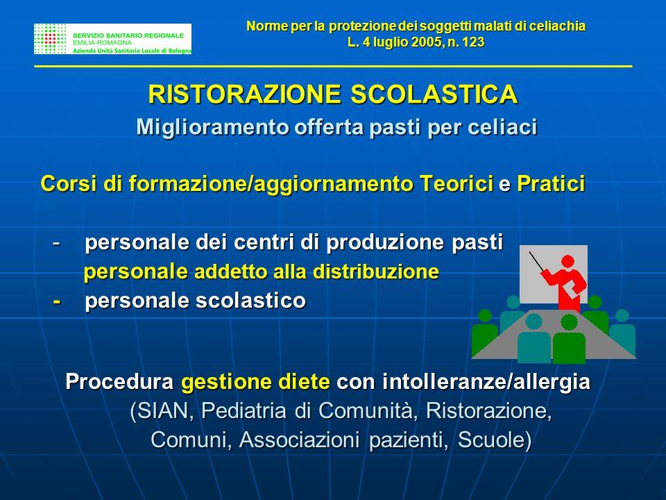 RISTORAZIONE SCOLASTICA Miglioramento offerta pasti per celiaci