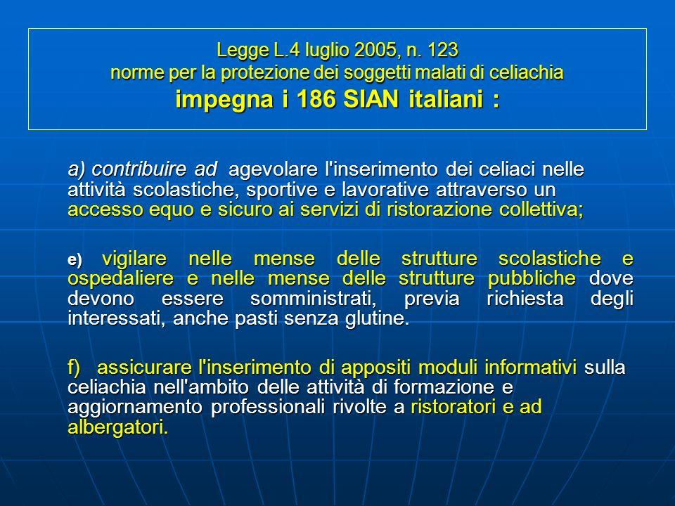 Legge L.4 luglio 2005, n. 123 norme per la protezione dei soggetti malati di celiachia impegna i 186 SIAN italiani :