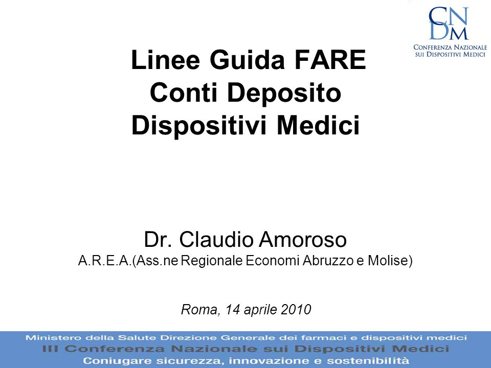 Linee Guida FARE Conti Deposito Dispositivi Medici Dr