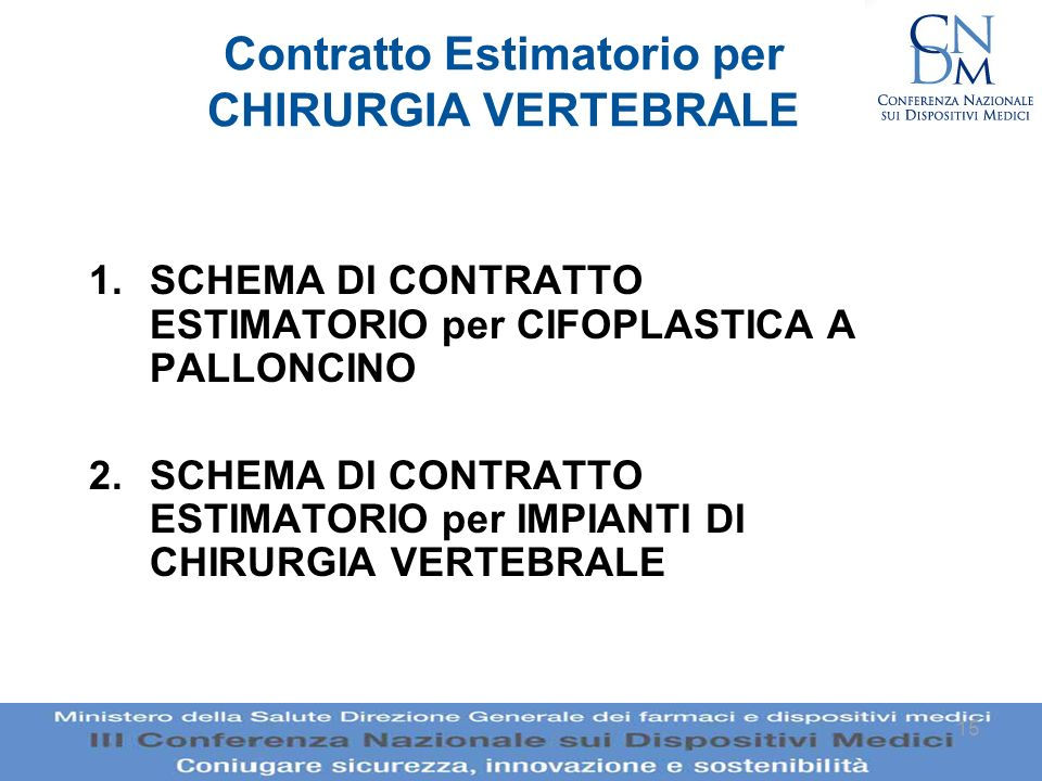Contratto Estimatorio per CHIRURGIA VERTEBRALE