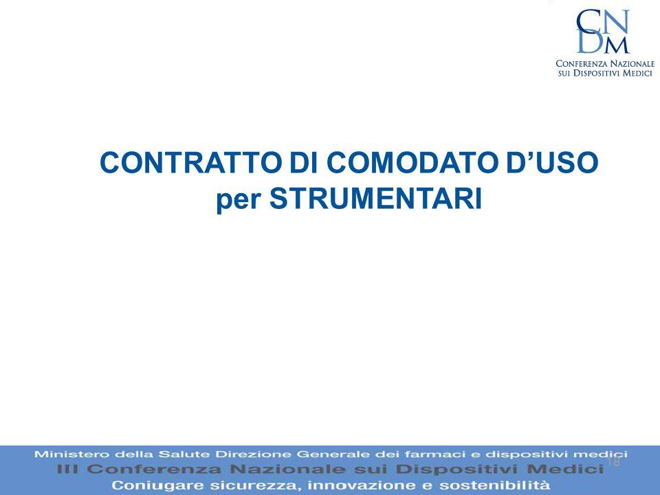 CONTRATTO DI COMODATO D'USO per STRUMENTARI