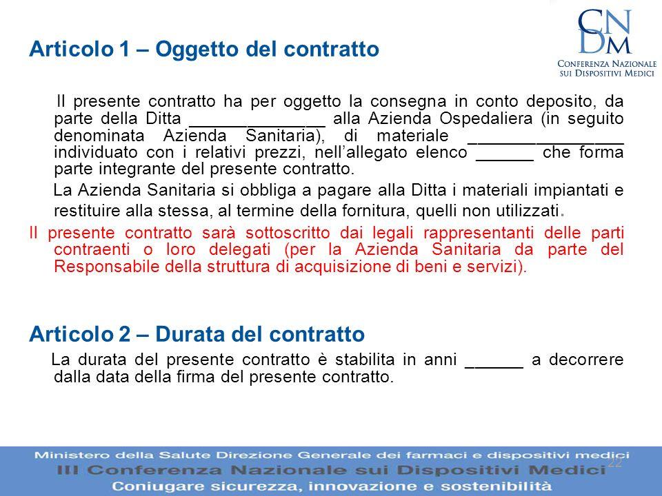 Articolo 1 – Oggetto del contratto