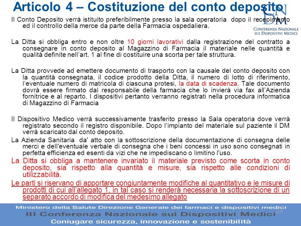 Articolo 4 – Costituzione del conto deposito