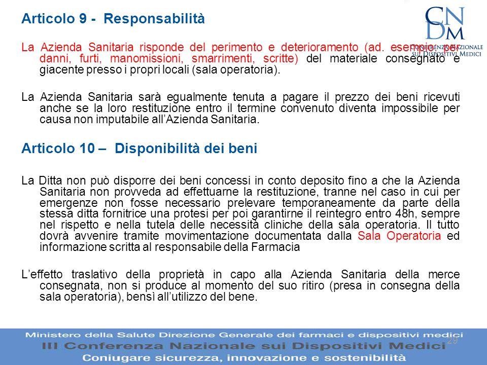 Articolo 9 - Responsabilità