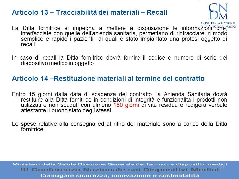 Articolo 13 – Tracciabilità dei materiali – Recall