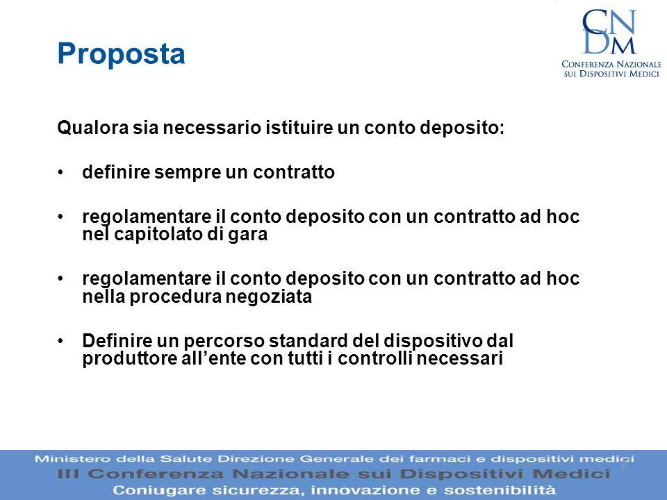 Proposta Qualora sia necessario istituire un conto deposito: