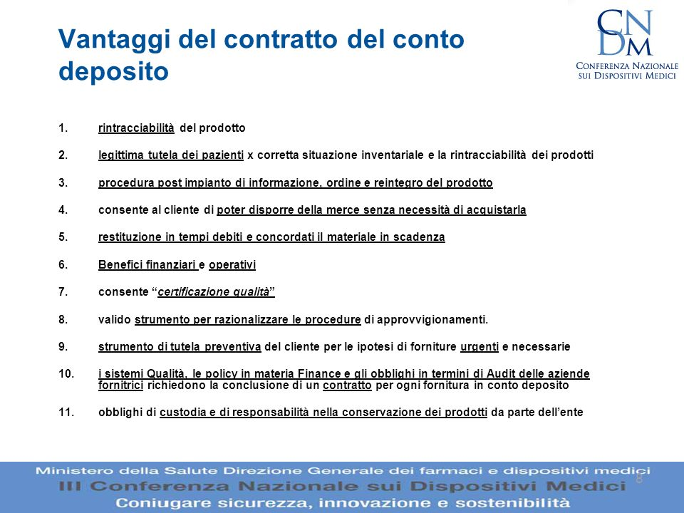 Vantaggi del contratto del conto deposito