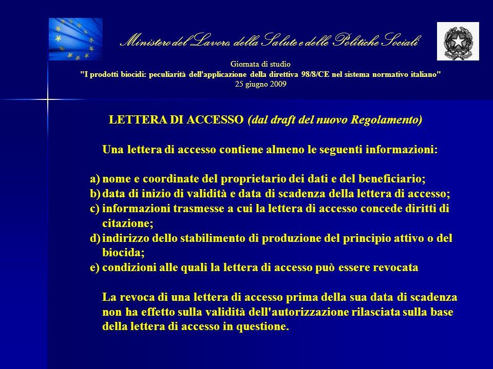 LETTERA DI ACCESSO (dal draft del nuovo Regolamento)