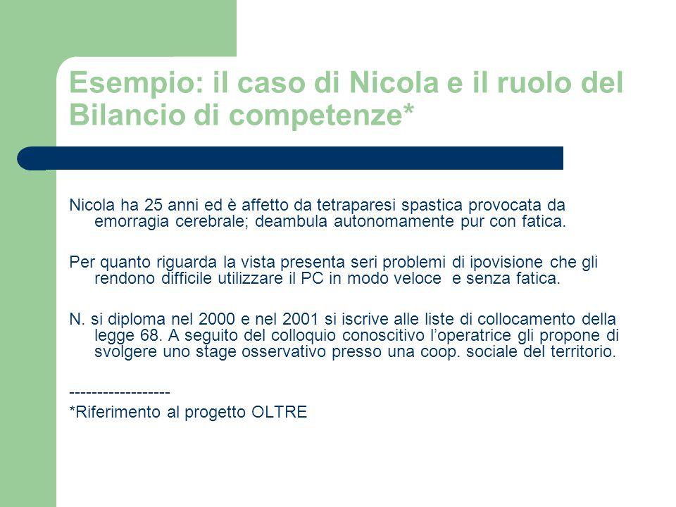 Esempio: il caso di Nicola e il ruolo del Bilancio di competenze*