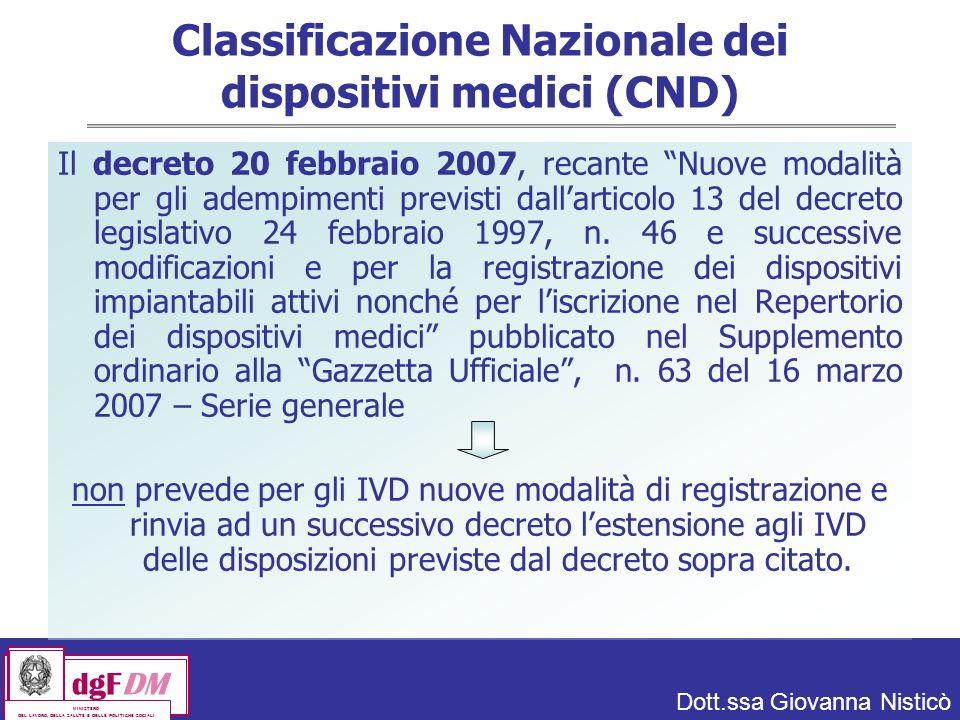 Classificazione Nazionale dei dispositivi medici (CND)