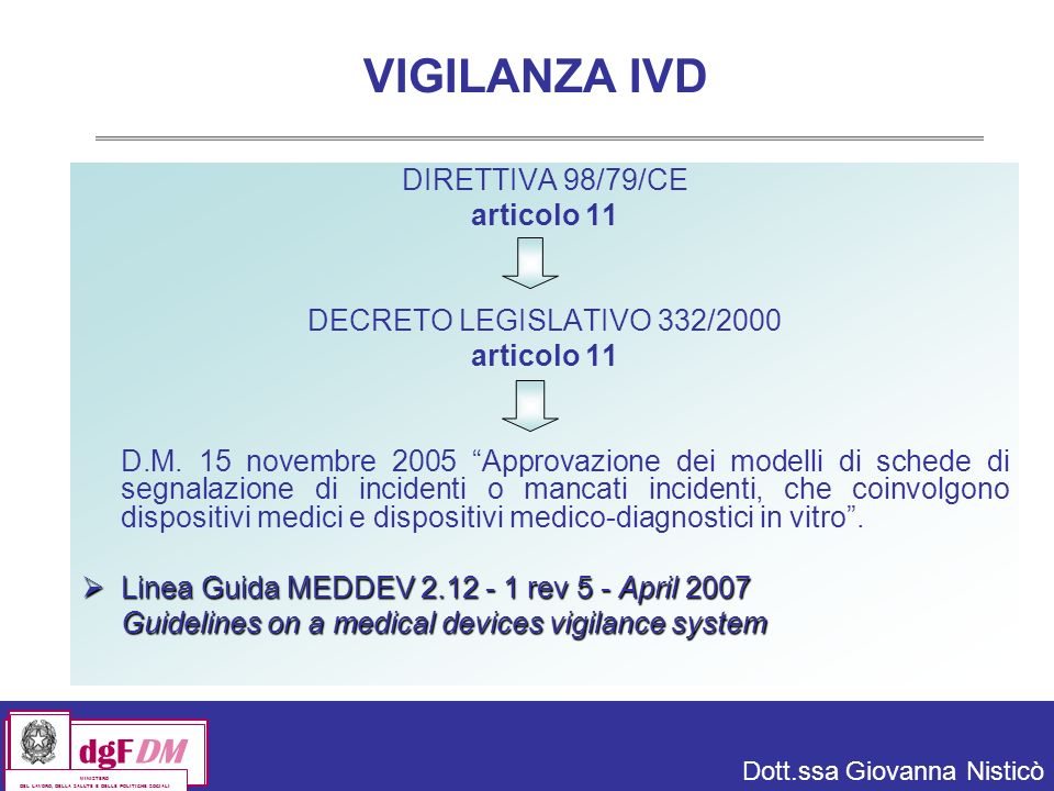 VIGILANZA IVD DIRETTIVA 98/79/CE articolo 11