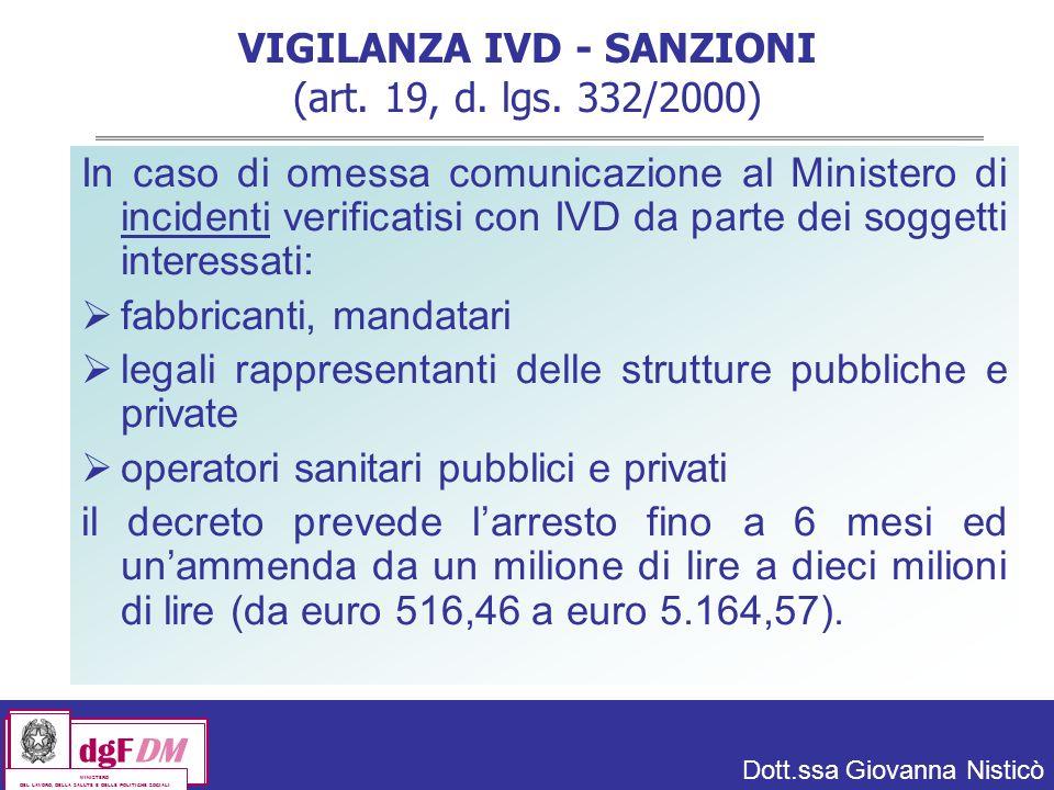 VIGILANZA IVD - SANZIONI (art. 19, d. lgs. 332/2000)