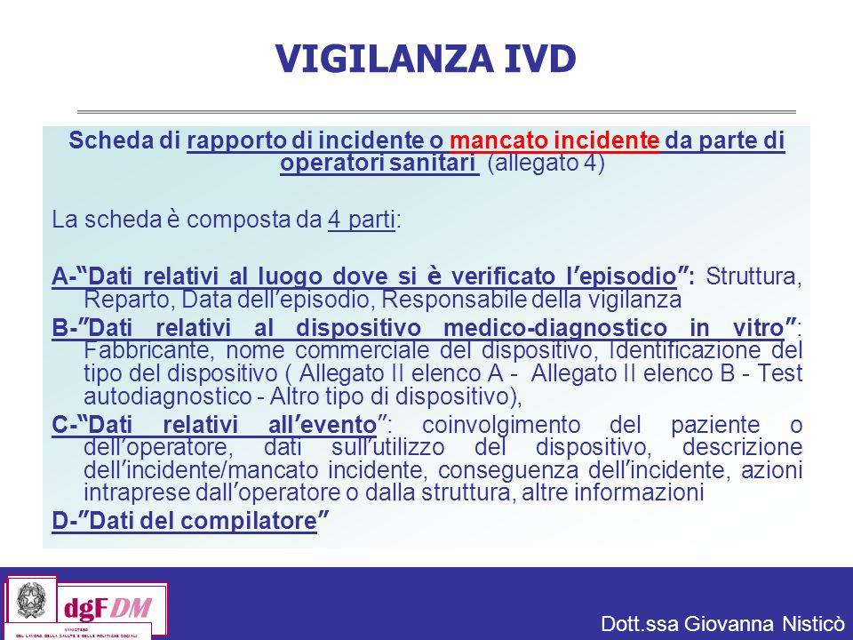 VIGILANZA IVD Scheda di rapporto di incidente o mancato incidente da parte di operatori sanitari (allegato 4)