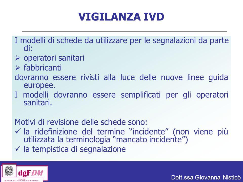 VIGILANZA IVD I modelli di schede da utilizzare per le segnalazioni da parte di: operatori sanitari.