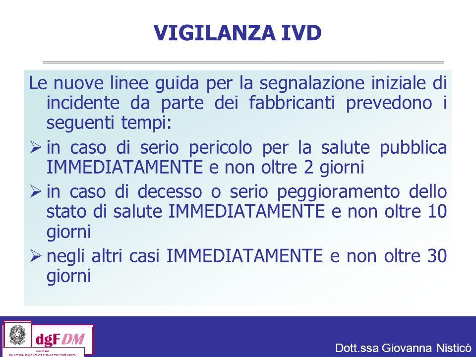VIGILANZA IVD Le nuove linee guida per la segnalazione iniziale di incidente da parte dei fabbricanti prevedono i seguenti tempi: