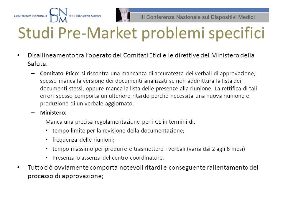 Studi Pre-Market problemi specifici