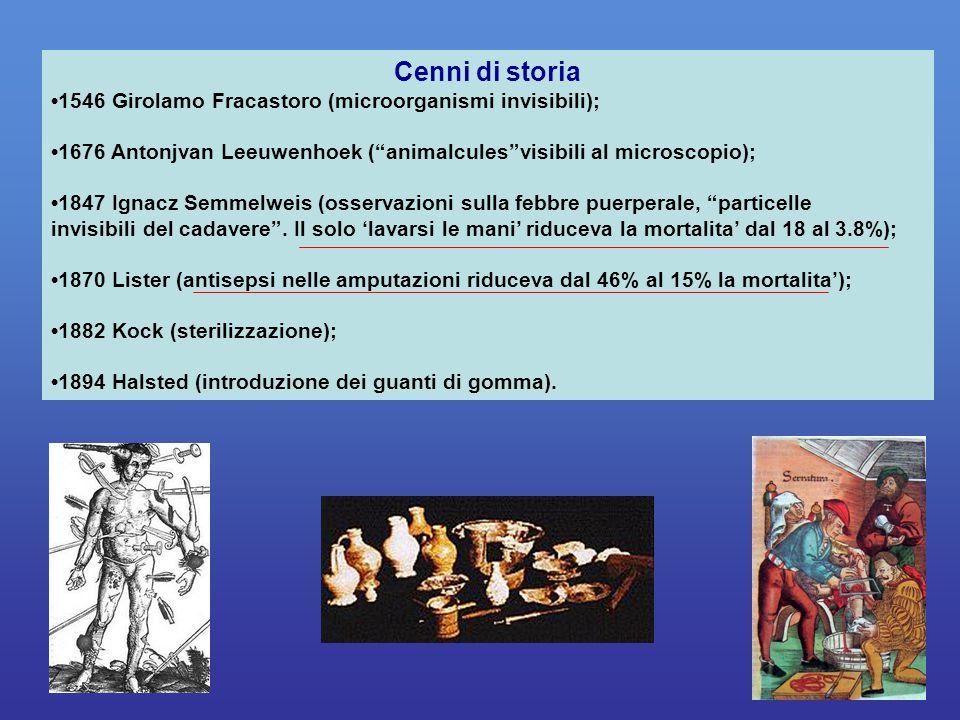 Cenni di storia •1546 Girolamo Fracastoro (microorganismi invisibili);
