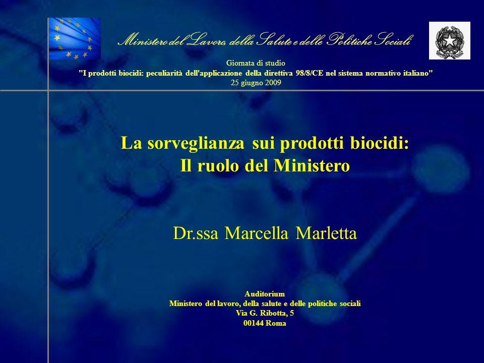 La sorveglianza sui prodotti biocidi: Il ruolo del Ministero