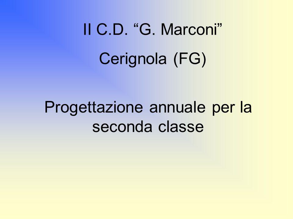 Progettazione annuale per la seconda classe