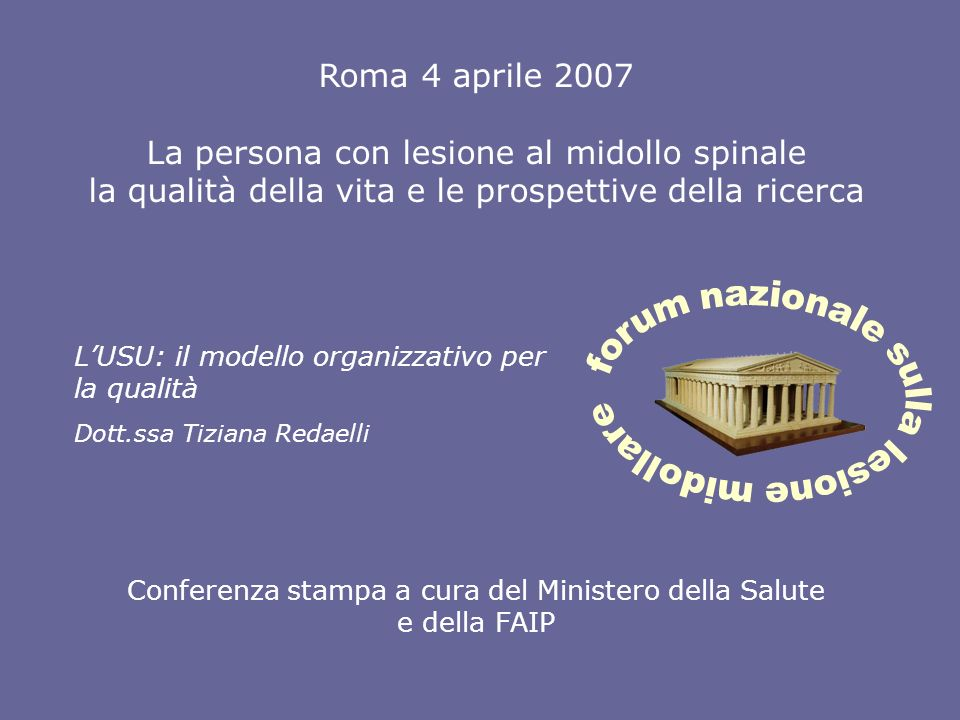 forum nazionale sulla lesione midollare