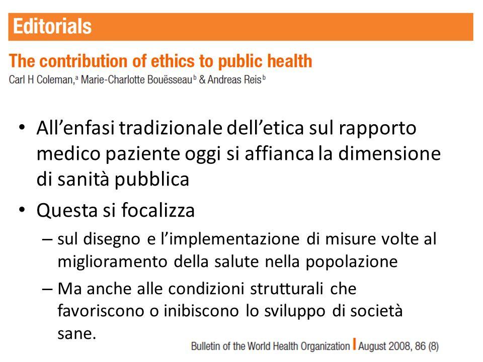 All'enfasi tradizionale dell'etica sul rapporto medico paziente oggi si affianca la dimensione di sanità pubblica