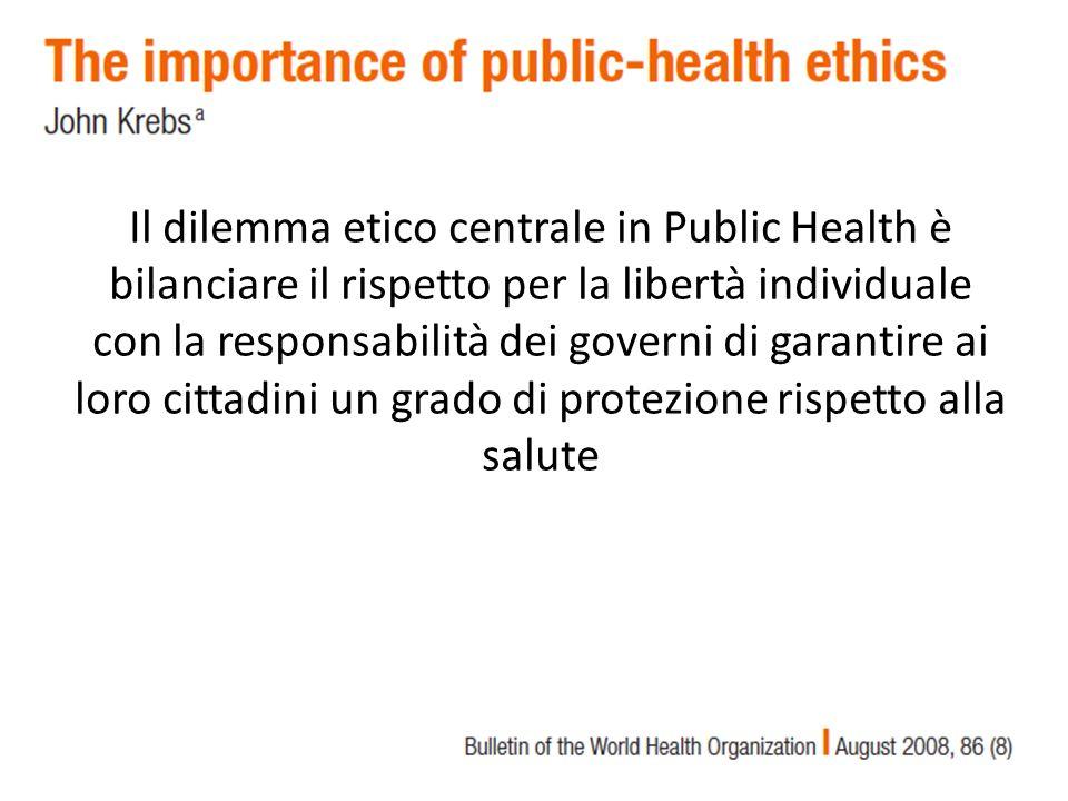 Il dilemma etico centrale in Public Health è bilanciare il rispetto per la libertà individuale con la responsabilità dei governi di garantire ai loro cittadini un grado di protezione rispetto alla salute