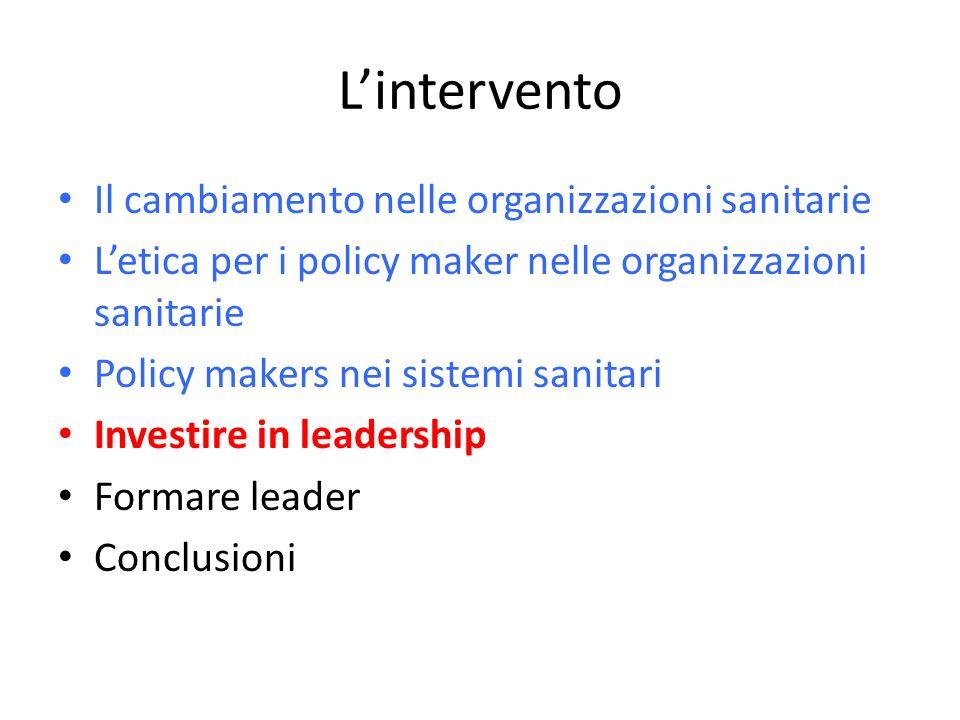 L'intervento Il cambiamento nelle organizzazioni sanitarie