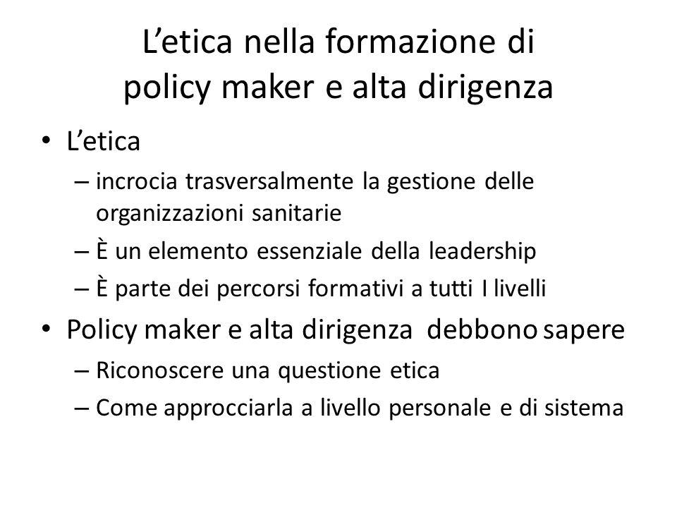 L'etica nella formazione di policy maker e alta dirigenza