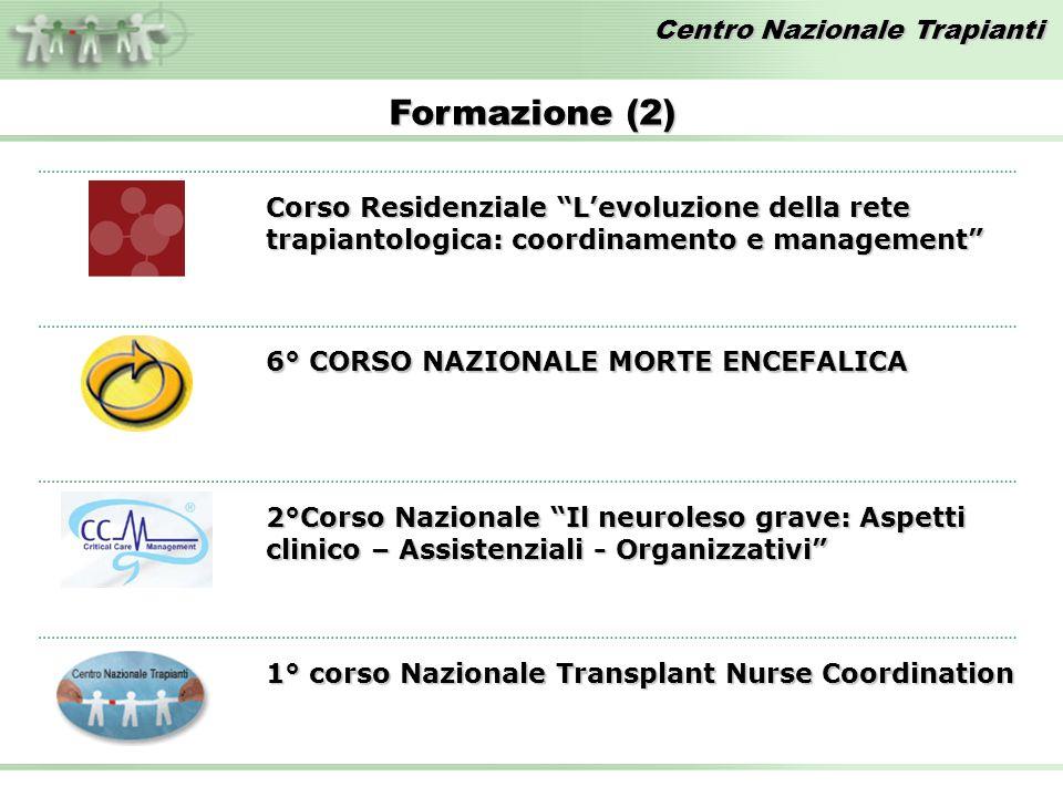 Formazione (2) Corso Residenziale L'evoluzione della rete trapiantologica: coordinamento e management