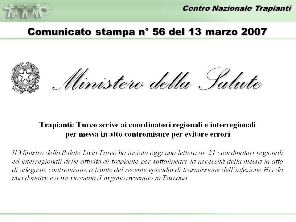 Comunicato stampa n° 56 del 13 marzo 2007