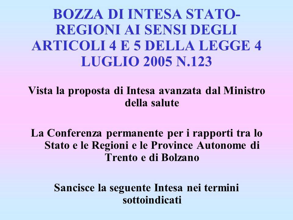 BOZZA DI INTESA STATO-REGIONI AI SENSI DEGLI ARTICOLI 4 E 5 DELLA LEGGE 4 LUGLIO 2005 N.123