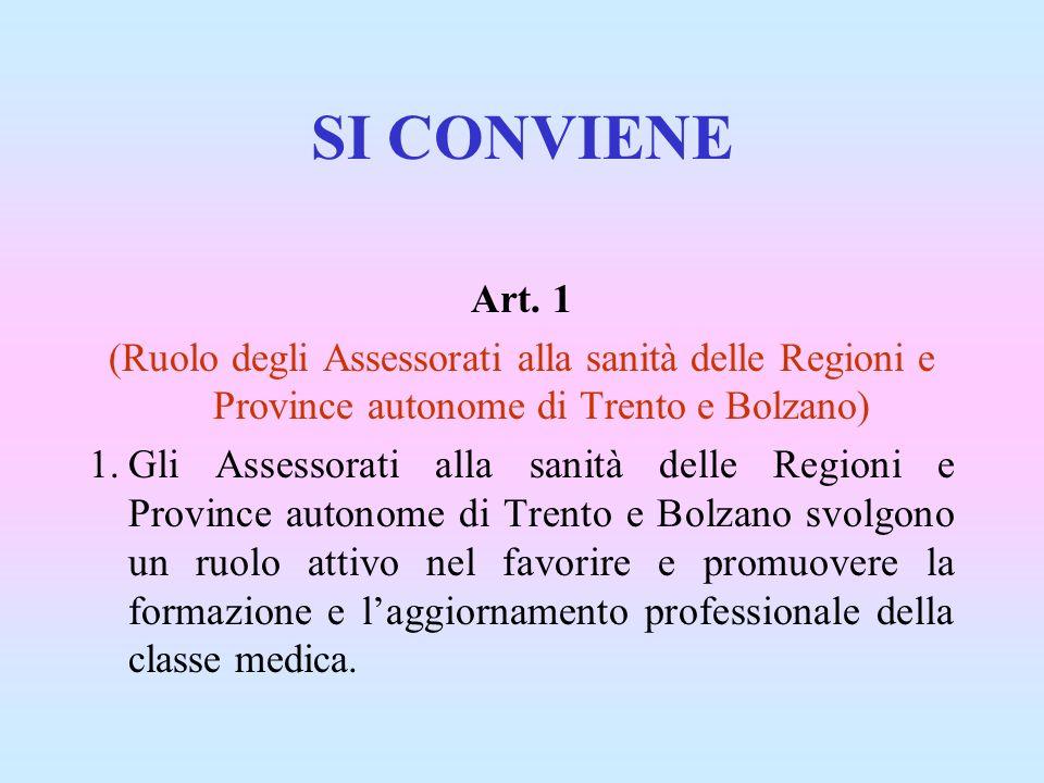 SI CONVIENE Art. 1. (Ruolo degli Assessorati alla sanità delle Regioni e Province autonome di Trento e Bolzano)