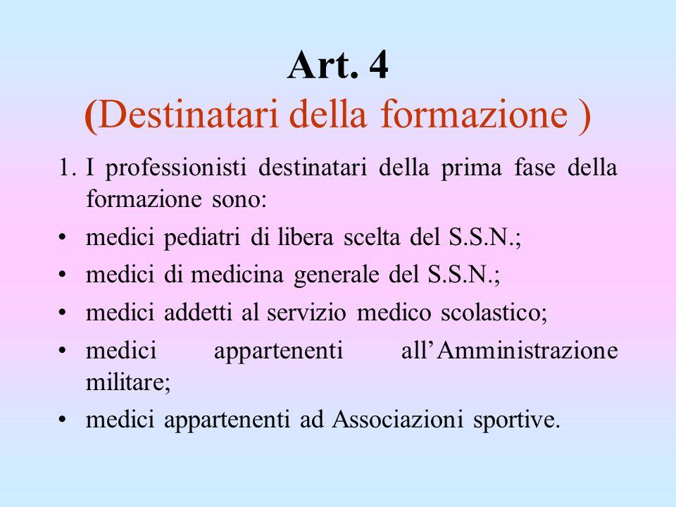 Art. 4 (Destinatari della formazione )