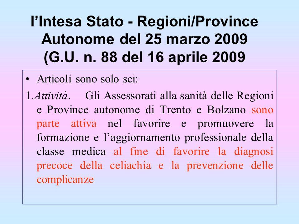 l'Intesa Stato - Regioni/Province Autonome del 25 marzo 2009 (G. U. n