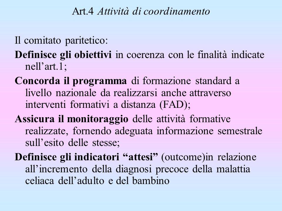 Art.4 Attività di coordinamento