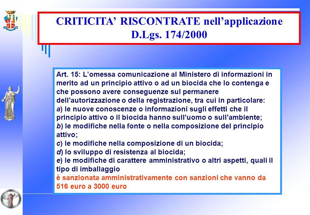 CRITICITA' RISCONTRATE nell'applicazione D.Lgs. 174/2000