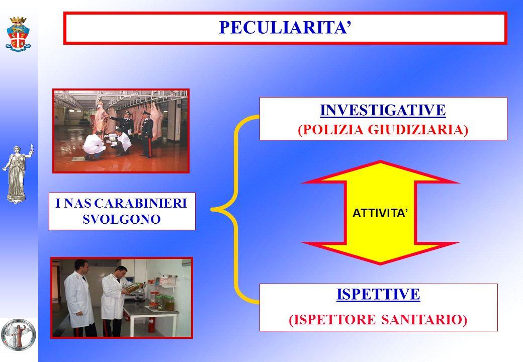 (POLIZIA GIUDIZIARIA) I NAS CARABINIERI SVOLGONO (ISPETTORE SANITARIO)