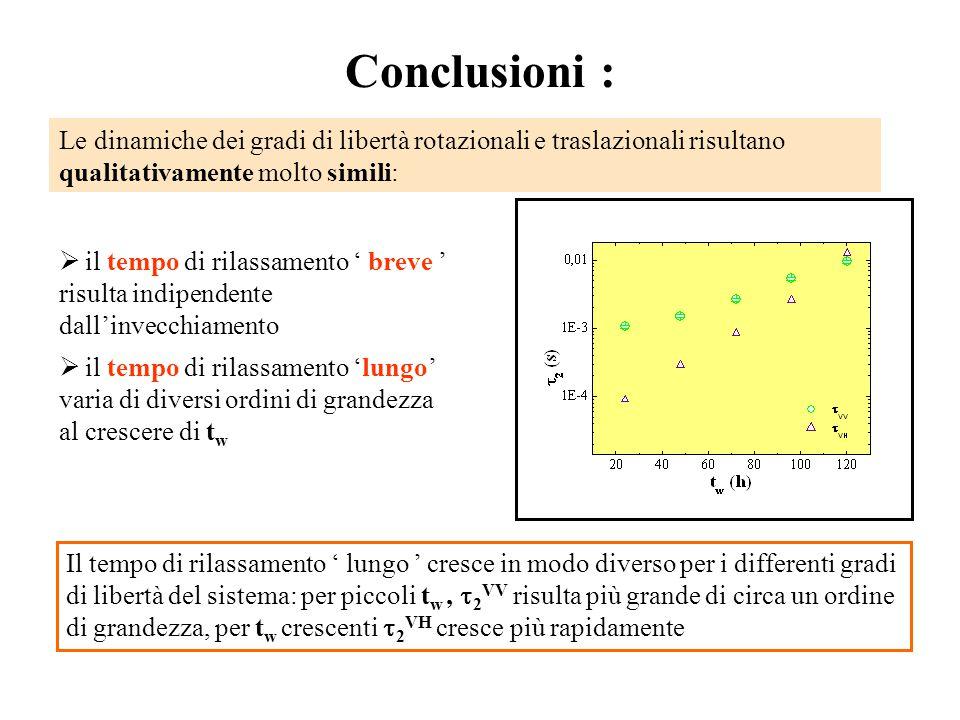 Conclusioni : Le dinamiche dei gradi di libertà rotazionali e traslazionali risultano qualitativamente molto simili: