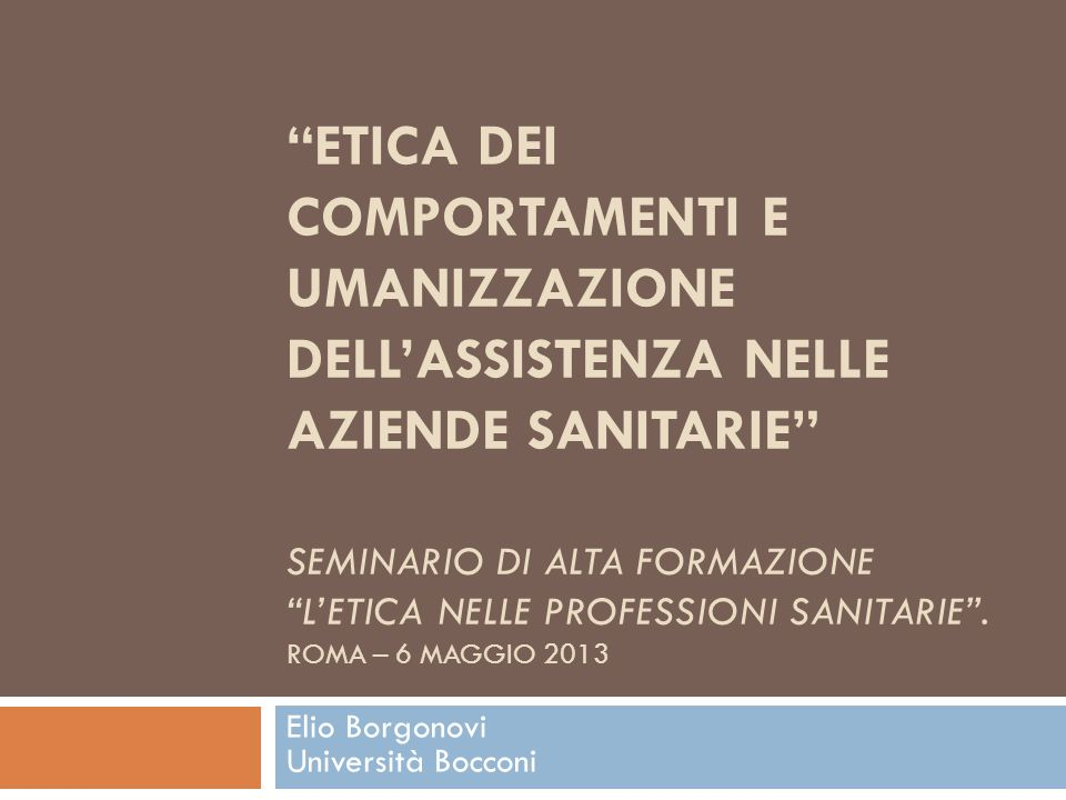 Elio Borgonovi Università Bocconi