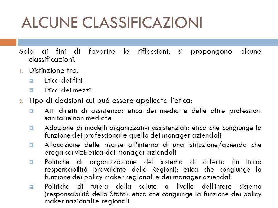 ALCUNE CLASSIFICAZIONI