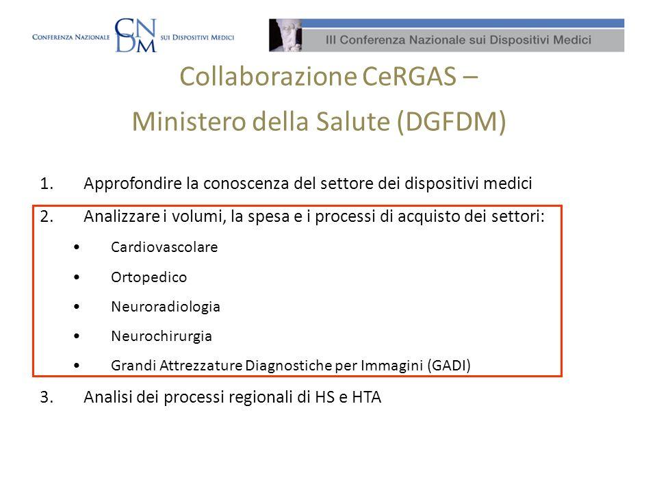 Collaborazione CeRGAS – Ministero della Salute (DGFDM)