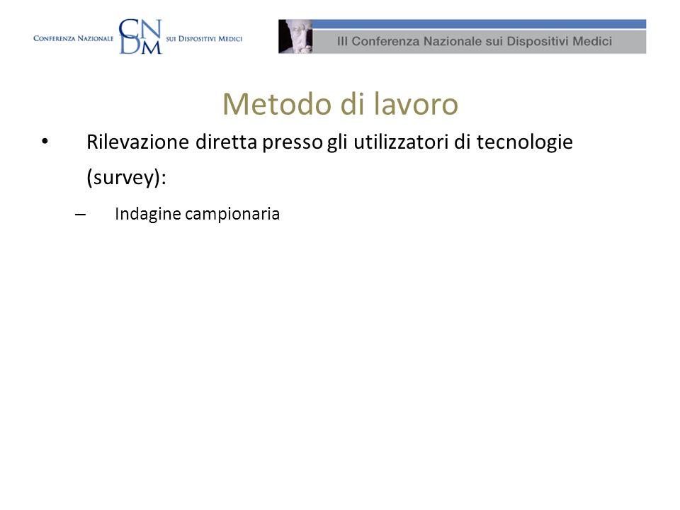 Metodo di lavoro Rilevazione diretta presso gli utilizzatori di tecnologie (survey): Indagine campionaria.