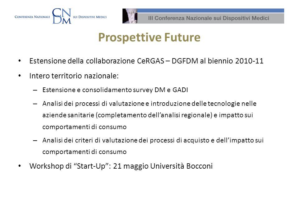 Prospettive Future Estensione della collaborazione CeRGAS – DGFDM al biennio 2010-11. Intero territorio nazionale: