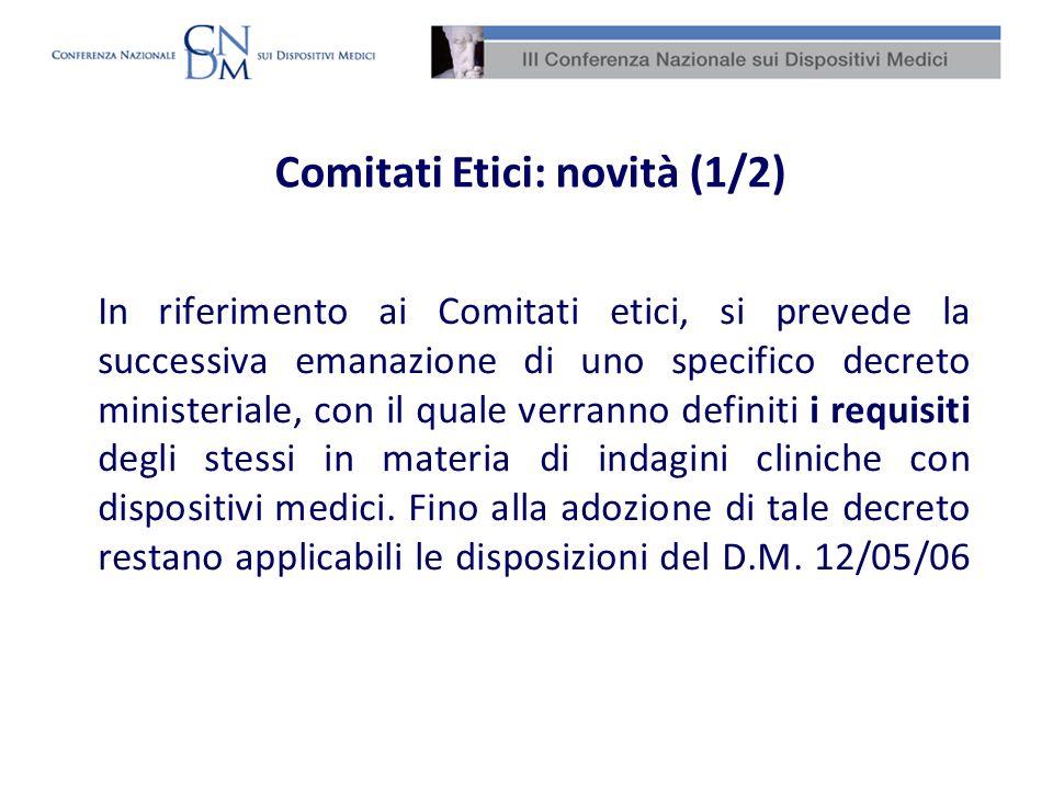 Comitati Etici: novità (1/2)